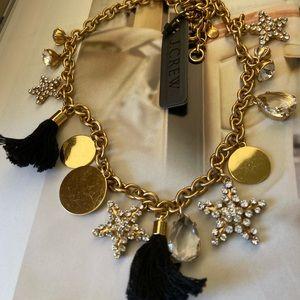 ❤️NWT JCREW CrystalStarGoldDisc Tassels Necklace